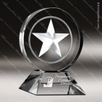 Crystal  Clear Star Glow Circle Trophy Award Visions Crystal Trophy Awards