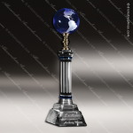 Crystal Blue Accented Global Destiny Globe Trophy Award Visions Crystal Trophy Awards