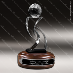 Crystal Sport Wood Accented Champion Tee Golf Trophy Award Visions Crystal Trophy Awards