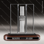 Crystal Wood Accented Triborough Rectangle Trophy Award Visions Crystal Trophy Awards