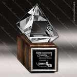 Crystal Wood Accented Diamond Jewels III Trophy Award Visions Crystal Trophy Awards
