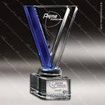 Crystal Blue Accented Cobalt Avatar Triangle Trophy Award Visions Crystal Trophy Awards