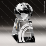 Crystal  Clear Latitude and Longitude Globe Trophy Award Visions Crystal Trophy Awards