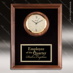 Corporate Walnut Plaque Wall Clock Gold Face & Black Plate Placard Award Wall Clock Plaques