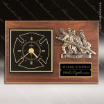 Fireman Award Clock with Antique Bronze Finish Casting. Wall Clock Plaques