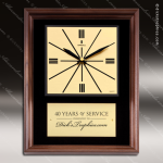 Corporate Walnut Plaque Wall Clock Gold Face & Plate Placard Award Wall Clock Plaques