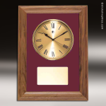 Coporate Walnut Plaque Wall Clock Framed Maroon Velour Placard Award Wall Clock Plaques