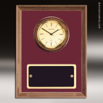 Coporate Walnut Plaque Wall Clock Framed Marroon Velour Placard Award Wall Clock Plaques
