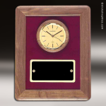Coporate Walnut Plaque Wall Clock Contemporary Framed Placard Award Wall Clock Plaques