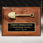 Engraved Walnut Plaque Mounted Breaking Ground Ceremony Shovel Walnut Finish Plaques