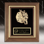 Engraved Walnut Plaque Framed Cast Fire Fighter Emblem Wall Placard Award Walnut Finish Plaques