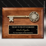 Engraved Walnut Plaque Mounted Key Of The City Award Walnut Finish Plaques