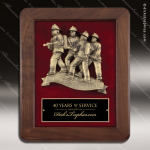 Engraved Walnut Plaque Mounted Cast Fire Rescue Team Award Walnut Finish Plaques