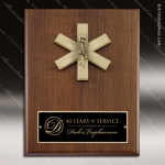 Engraved Walnut Plaque Mounted EMT Medical Caduceus Emblem Wall Placard Awa Walnut Finish Plaques