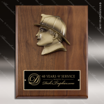 Engraved Walnut Plaque Mounted Cast Fire Fighter Silhouette Walnut Finish Plaques