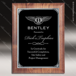Engraved Walnut Plaque Black Plate Silver Border Award Walnut Finish Plaques