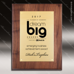 Engraved Walnut Plaque - Gold Plate Black Letters Award Walnut Finish Plaques