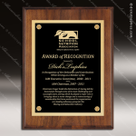 Engraved Walnut  Finish Plaque Black Plate Gold Border Walnut Finish Plaques