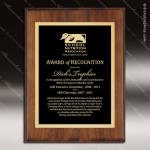 Engraved Walnut Finish Plaque Black Plate Gold Border - Style 3 Walnut Finish Plaques