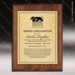 Engraved Walnut  Finish Plaque   Gold Plate Walnut Finish Plaques