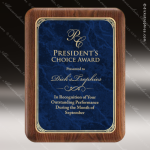 Engraved Walnut Plaque Blue Marble Plate Gold Border Wall Placard Award Walnut Finish Plaques