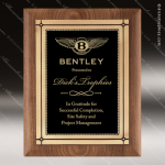 Engraved Walnut Plaque Black Plate  Antique Bronze Frame Wall Placard Award Walnut Finish Plaques