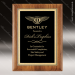 Engraved Walnut Plaque Black Plate Gold Border Wall Placard Award Walnut Finish Plaques