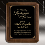 Engraved Walnut Plaque Black Brass Wall Placard Award Walnut Finish Plaques
