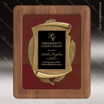 Engraved Walnut Plaque Framed Black Plate Gold Cast Border Walnut Finish Plaques