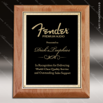 Engraved Alder Hardwood Plaque Black Plate Gold Border Wall Placard Award Walnut Finish Plaques