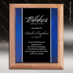 Engraved Alder Plaque Acrylic Blue Art Border Black Plate Walnut Finish Plaques