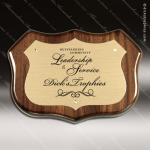 Engraved Walnut Plaque Gold Plate Shield Border Wall Placard Award Walnut Finish Plaques