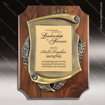 Engraved Walnut Plaque Gold Plate Scallop Scroll Cast Award Walnut Finish Plaques