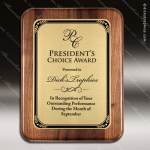 Engraved Walnut Plaque Gold Plate Round Edge Border Award Walnut Finish Plaques