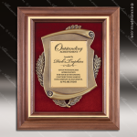 Engraved Walnut Plaque Framed Gold Cast Plate Velour Backed Wall Placard Aw Walnut Finish Plaques