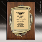 Engraved Walnut Plaque Gold Plate Cast Scroll Border Wall Placard Award Walnut Finish Plaques