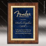 Engraved Walnut Plaque Blue Marble Plate Gold Border Award Walnut Finish Plaques