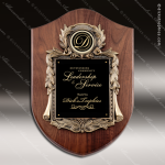 Engraved Walnut Plaque Black Plate Cast Shield Scroll Border Wall Placard A Walnut Finish Plaques