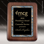 Engraved Walnut Plaque Black Plate Round Edge Border Wall Placard Award Walnut Finish Plaques