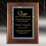 Engraved Walnut Plaque Black Plate Marble Border Award Walnut Finish Plaques
