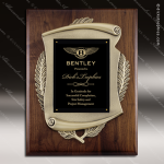 Engraved Walnut Plaque Black Plate Cast Scroll Border Award Walnut Finish Plaques