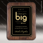 Engraved Walnut Plaque Black Plate Round Edge Border Award Walnut Finish Plaques