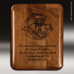 Corporate Walnut Plaque Elliptical Edge Laser Etched Wall Placard Award Walnut Finish Plaques
