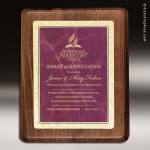 Corporate Walnut Plaque Burgundy Marble Summit Edge Wall Placard Award Walnut Finish Plaques