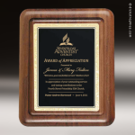 Engraved Walnut Plaque Black Brass Silhouette Edge Wall Placard Award Walnut Finish Plaques