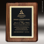 Engraved Walnut Plaque Black Brass Summit Edge Wall Placard Award Walnut Finish Plaques