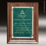 Engraved Walnut Plaque Green Marble Presidential Edge Wall Placard Award Walnut Finish Plaques