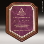 Corporate Walnut Plaque Burgundy Marble Shield Edge Wall Placard Award Walnut Finish Plaques