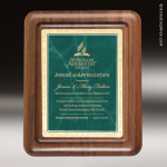 Engraved Walnut Plaque Green Marble Silhouette Edge Wall Placard Award Walnut Finish Plaques