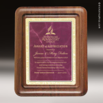 Corporate Walnut Plaque Burgundy Marble Silhouette Edge Wall Placard Award Walnut Finish Plaques